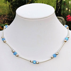 Faceted Blue Glass Silver Plated Choker Necklace